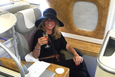 Jennifer Aniston on Emirates-Um, I did it First Betch luxury travel mom