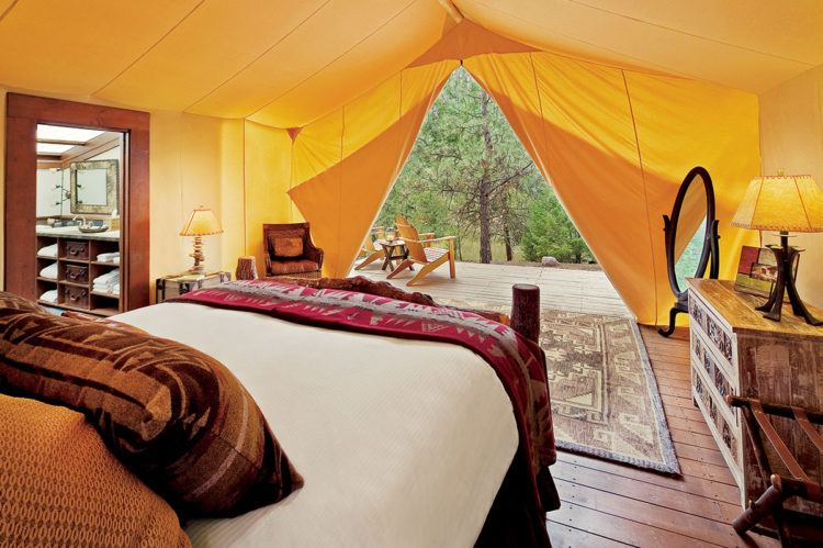 View from a luxury tent at The Resort at Paws Up
